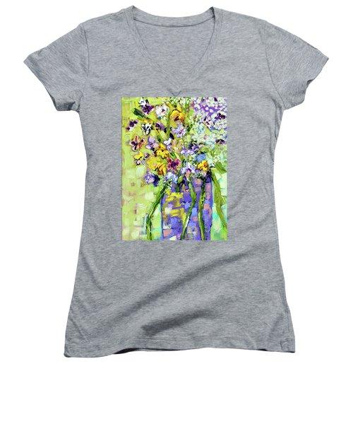 Wild Profusion Women's V-Neck T-Shirt (Junior Cut) by Lynda Cookson