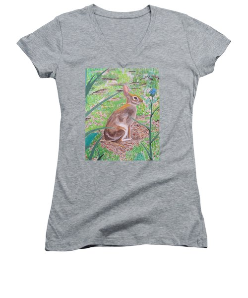 Women's V-Neck T-Shirt (Junior Cut) featuring the painting Wild Rabbit by Hilda and Jose Garrancho