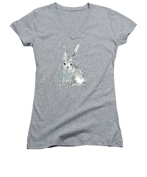 Wild Rabbit Watercolor And Ink Painting By Kmcelwaine Women's V-Neck