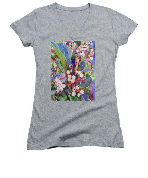 Wild Raisons Women's V-Neck T-Shirt (Junior Cut) by Sandy McIntire