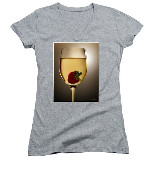 Women's V-Neck T-Shirt (Junior Cut) featuring the photograph Wild Strawberry by Joe Bonita