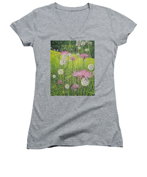 Wild Thistles Women's V-Neck (Athletic Fit)