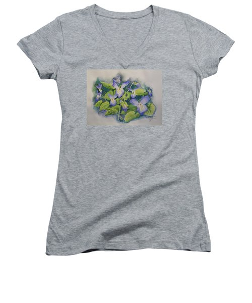 Wild Violets Women's V-Neck T-Shirt (Junior Cut) by Marilyn Zalatan