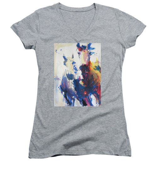Wild Wild Horses Women's V-Neck T-Shirt (Junior Cut) by Robert Joyner