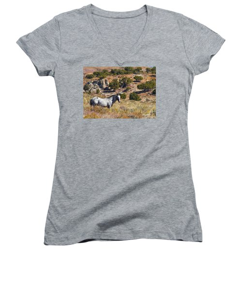 Wild Wyoming Women's V-Neck (Athletic Fit)