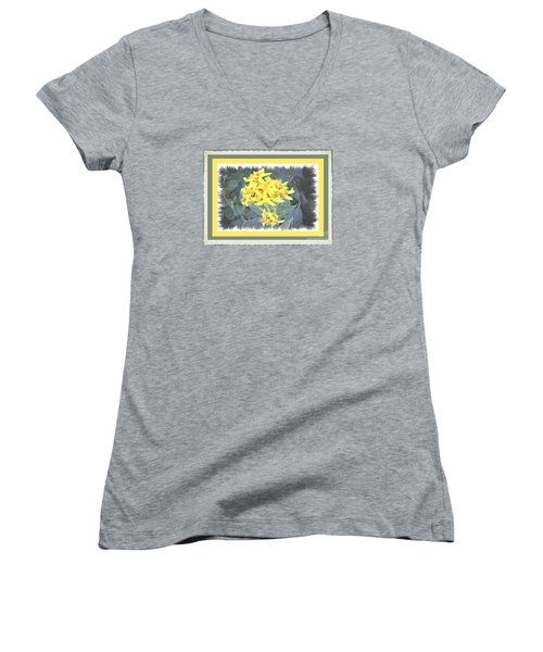 Wild Yellow Weed Women's V-Neck T-Shirt (Junior Cut) by Shirley Moravec