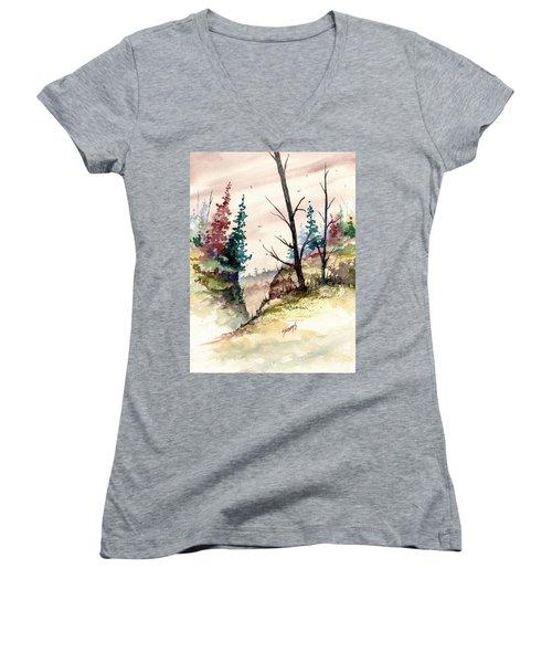 Wilderness II Women's V-Neck T-Shirt (Junior Cut) by Sam Sidders