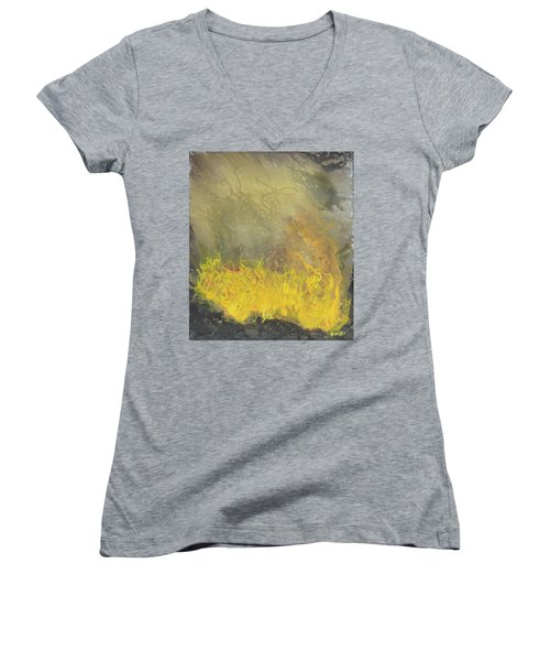 Women's V-Neck T-Shirt (Junior Cut) featuring the painting Wildfire by Antonio Romero