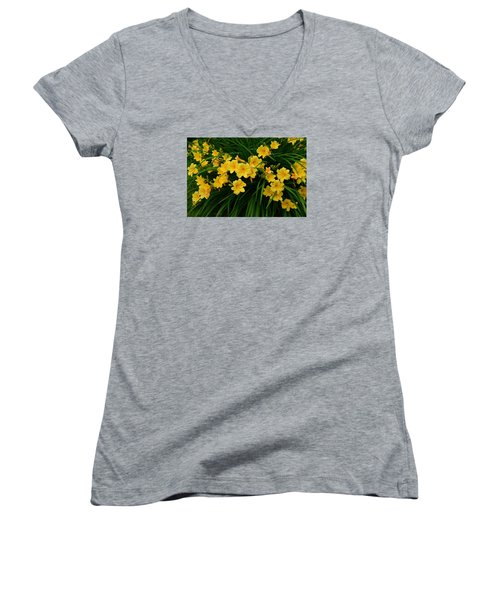 Wildflower Bouquet Women's V-Neck T-Shirt (Junior Cut) by Linda Edgecomb
