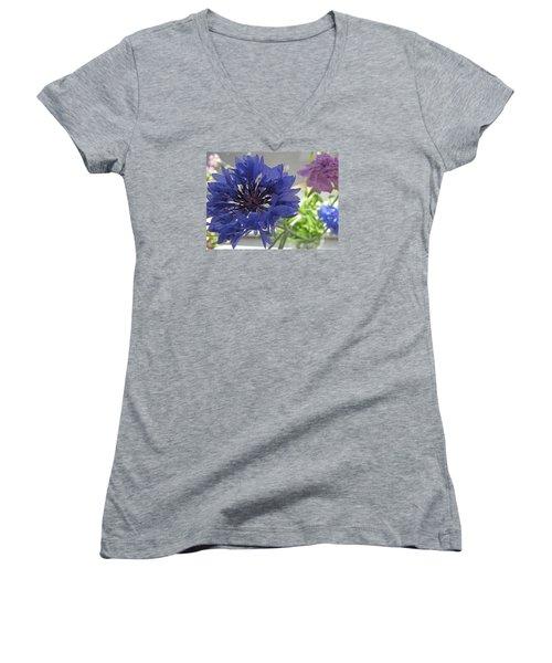 Wildflower Fluff Women's V-Neck T-Shirt (Junior Cut) by Barbara McDevitt