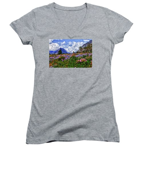 Wildflower Profusion Women's V-Neck (Athletic Fit)
