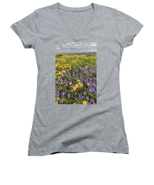 Women's V-Neck T-Shirt (Junior Cut) featuring the photograph Wildflower Super Bloom by Peter Tellone