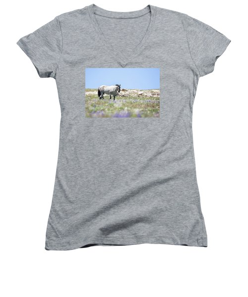 Wildflowers And Mustang Women's V-Neck