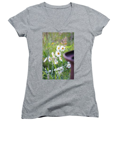 Women's V-Neck T-Shirt (Junior Cut) featuring the photograph Wildflowers by Angi Parks