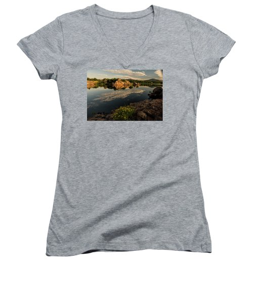Wildflowers At The Lake Women's V-Neck T-Shirt