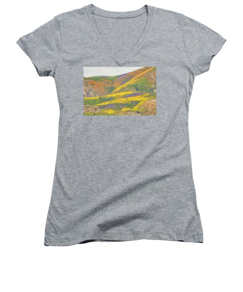 Women's V-Neck T-Shirt (Junior Cut) featuring the photograph Wildflowers At The Summit by Marc Crumpler