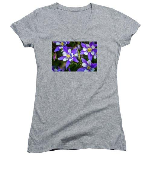 Wildflowers Blue Columbines Women's V-Neck