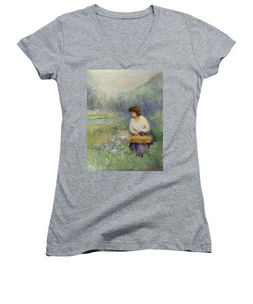 Wildflowers Women's V-Neck T-Shirt (Junior Cut) by Gail Kirtz