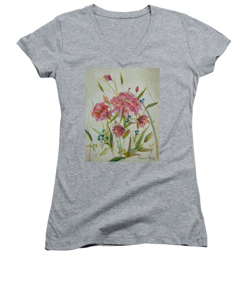 Wildflowers Women's V-Neck T-Shirt (Junior Cut) by Judith Rhue