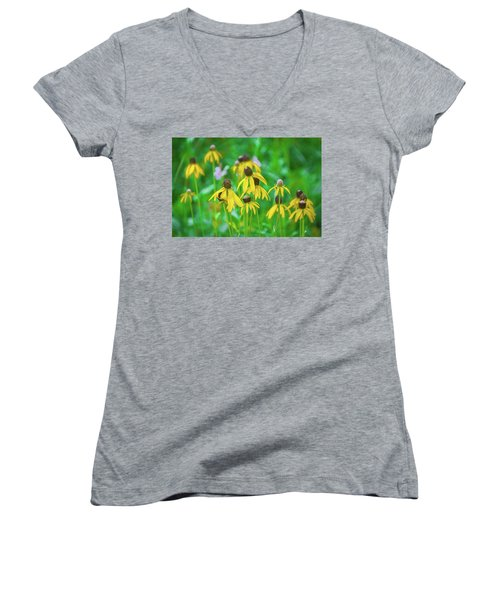 Women's V-Neck T-Shirt featuring the photograph Wildflowers Of Yellow by Bill Pevlor