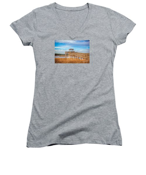 Wildlife Viewing Pier Women's V-Neck T-Shirt (Junior Cut) by Marion Johnson