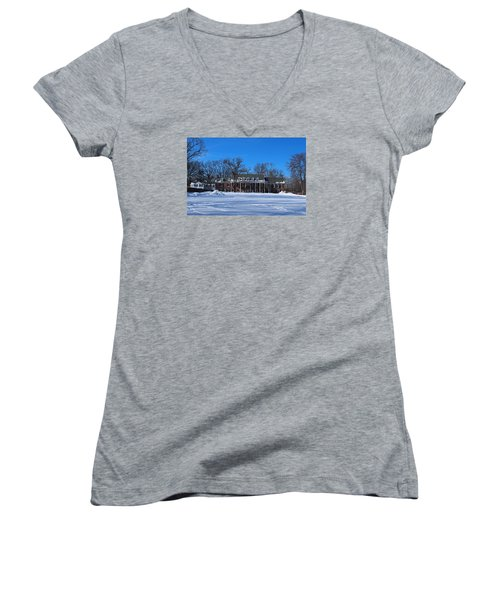 Wildwood Manor House In The Winter Women's V-Neck T-Shirt (Junior Cut) by Michiale Schneider