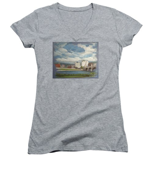 Wilkes-barre And River Women's V-Neck T-Shirt (Junior Cut) by Christina Verdgeline