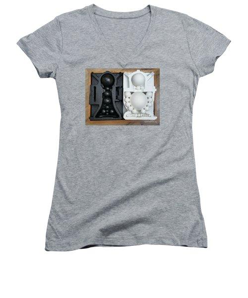 Women's V-Neck T-Shirt (Junior Cut) featuring the painting Willendorf Wedding 2 by James Lanigan Thompson MFA