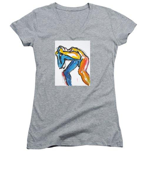 William Flynn Block Women's V-Neck T-Shirt (Junior Cut) by Shungaboy X