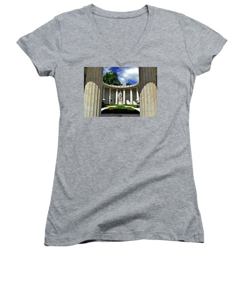 Women's V-Neck T-Shirt (Junior Cut) featuring the photograph William Mckinley Memorial 002 by George Bostian