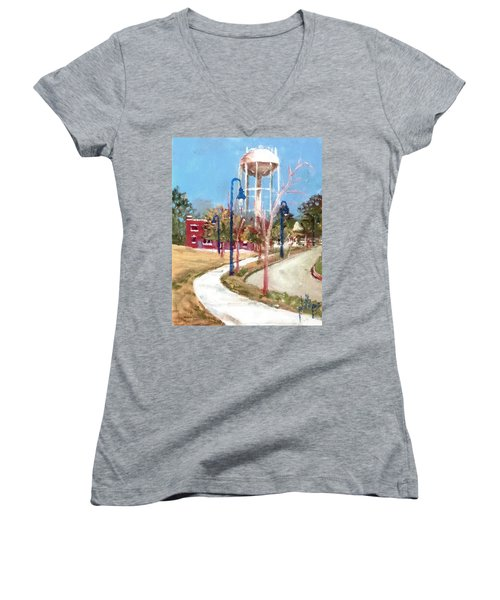 Women's V-Neck T-Shirt (Junior Cut) featuring the painting Willingham Park by Jim Phillips