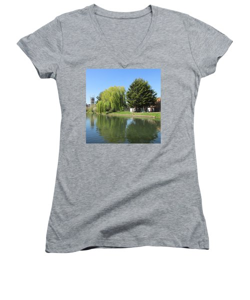Jessica Willow Likes David Pine - Grand Union Canal - Park Royal  Women's V-Neck T-Shirt (Junior Cut) by Mudiama Kammoh