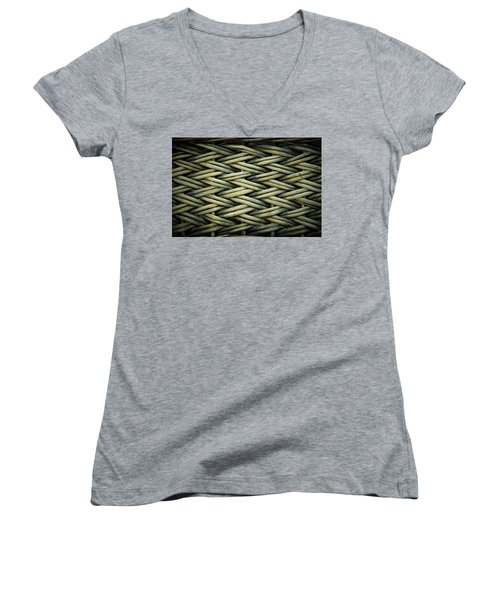 Women's V-Neck T-Shirt (Junior Cut) featuring the photograph Willow Weave by Les Cunliffe