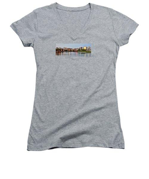Wilmington Delaware At Dusk Women's V-Neck T-Shirt (Junior Cut) by Brendan Reals