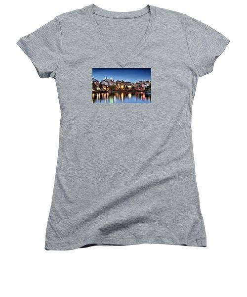 Wilmington Delaware Women's V-Neck T-Shirt (Junior Cut) by Brendan Reals
