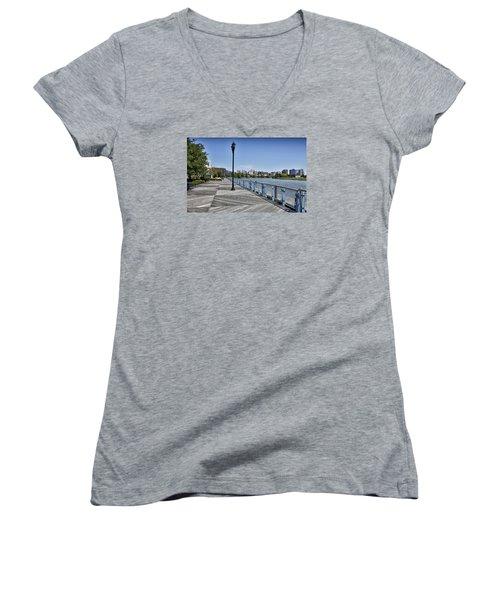 Wilmington Riverwalk - Delaware Women's V-Neck T-Shirt (Junior Cut) by Brendan Reals