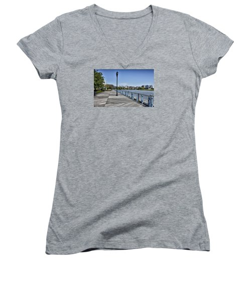 Wilmington Riverwalk - Delaware Women's V-Neck T-Shirt (Junior Cut)