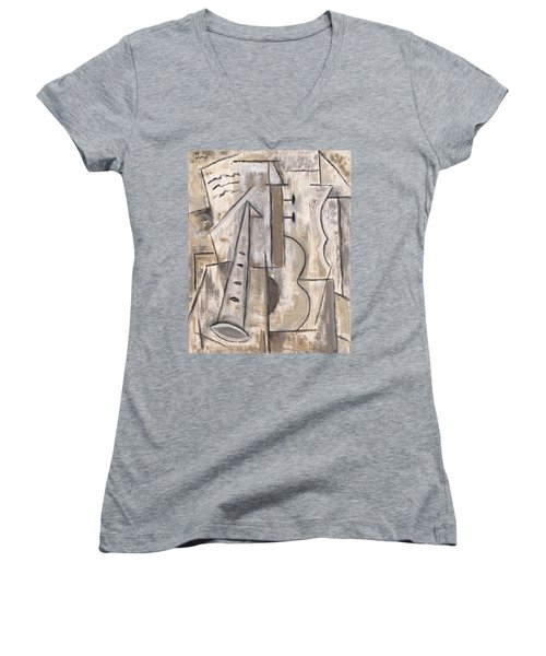 Wind And Strings Women's V-Neck T-Shirt (Junior Cut) by Trish Toro