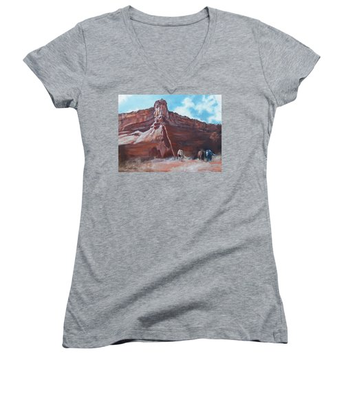Women's V-Neck T-Shirt (Junior Cut) featuring the painting Wind Horse Canyon by Karen Kennedy Chatham