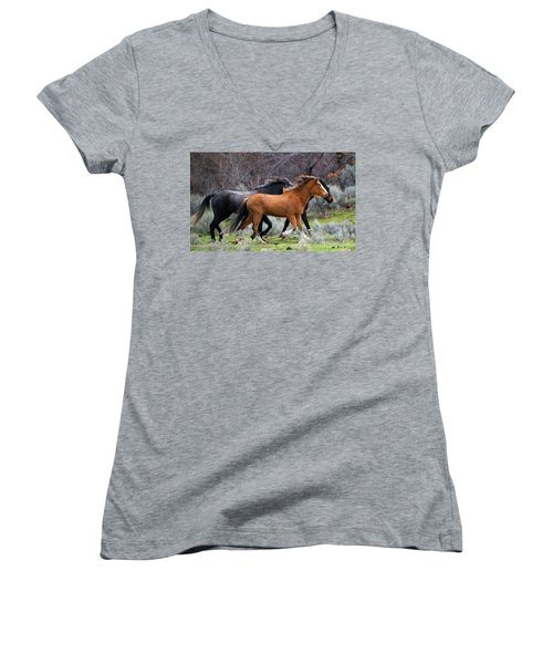 Women's V-Neck T-Shirt (Junior Cut) featuring the photograph Wind In The Manes by Mike Dawson