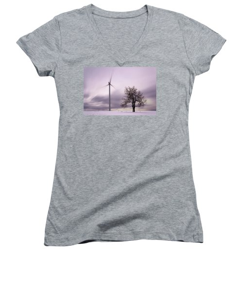 Wind Power Station, Ore Mountains, Czech Republic Women's V-Neck T-Shirt