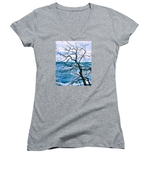 Wind Swept Women's V-Neck T-Shirt (Junior Cut) by Heather King