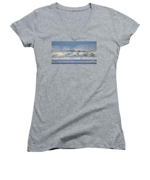 Wind Swept Waves Women's V-Neck T-Shirt (Junior Cut) by Nicholas Burningham