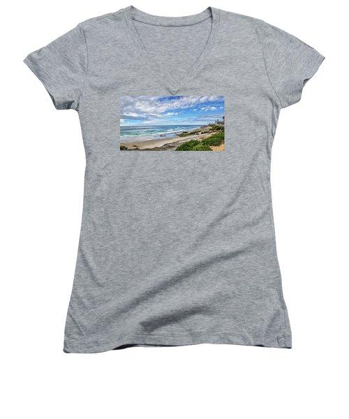 Women's V-Neck T-Shirt (Junior Cut) featuring the photograph Windansea Wonderful by Peter Tellone