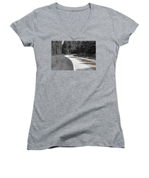 Winding Country Road In Selective Color Women's V-Neck