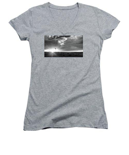 Windmill At Sunset Women's V-Neck T-Shirt (Junior Cut) by Monte Stevens