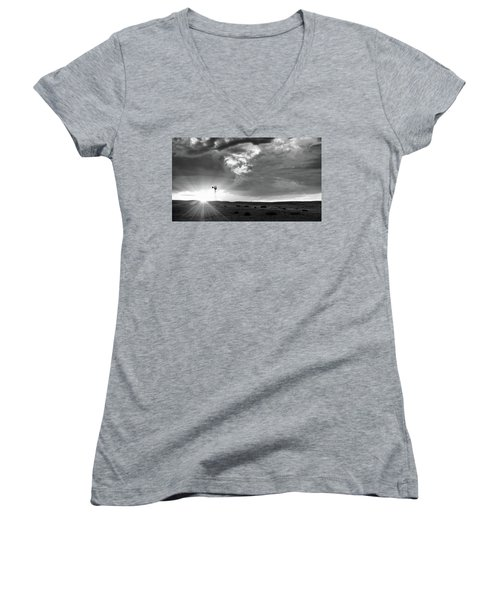 Women's V-Neck T-Shirt featuring the photograph Windmill At Sunset by Monte Stevens