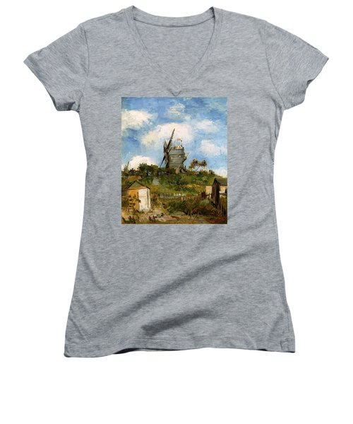 Windmill In Farm Women's V-Neck T-Shirt