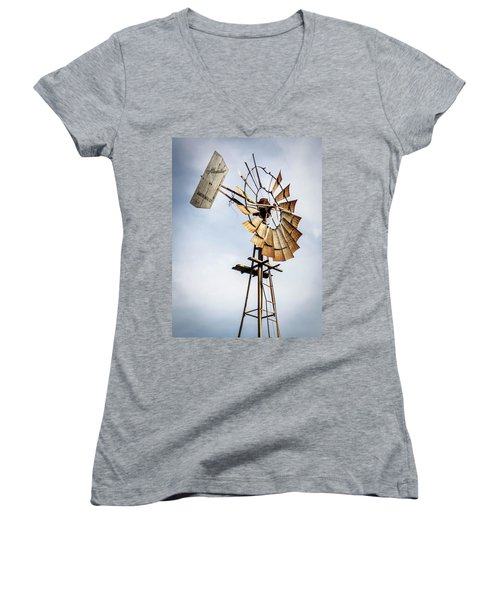Windmill In The Sky Women's V-Neck T-Shirt (Junior Cut) by Dawn Romine