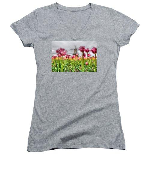 Women's V-Neck T-Shirt (Junior Cut) featuring the photograph Windmill Island by Robert Pearson